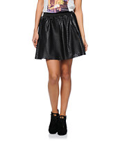 See You Monday Black Perforated Faux Leather Skirt
