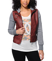 See You Monday Burgundy Hooded Faux Leather Jacket