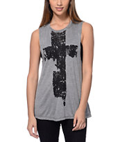 See You Monday Cross Light Grey Mesh Back Muscle Tank Top