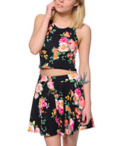 See You Monday Floral Print Black Crop Tank Top