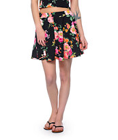 See You Monday Floral Print Black Skater Skirt