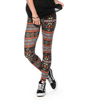 See You Monday Floral Tribal Leggings