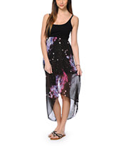 See You Monday Galaxy Print Chiffon High Low Dress