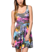 See You Monday Galaxy Print Skater Dress