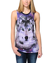 See You Monday Galaxy Wolf Black Mesh Back Muscle Tee Shirt