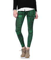 See You Monday Green & Black Chevron Tribal Printed Leggings