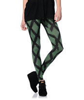 See You Monday Green & Black Diamond Print Leggings