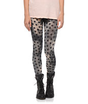 See You Monday Grey Tie Dye Star Print Leggings
