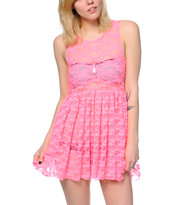 See You Monday Hot Pink Lace Babydoll Dress