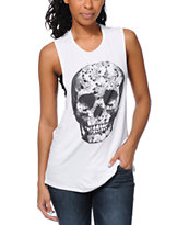 See You Monday Lace Skull White Lace Muscle Tee Shirt