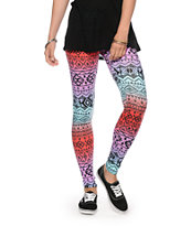 See You Monday Multi Tribal Print Leggings