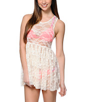 See You Monday Natural Lace Babydoll Dress