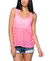 See You Monday Neon Pink Lace Tank Top