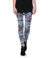 See You Monday Pastel Tie Dye Tribal Print Leggings