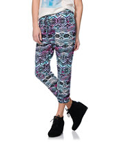 See You Monday Purple Tie Dye Tribal Print Jogger Pants