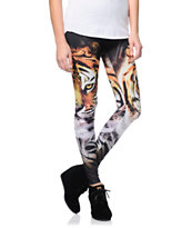 See You Monday Tiger Black Leggings