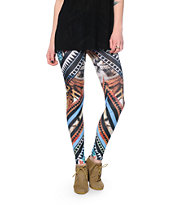 See You Monday Tiger Face Tribal Print Leggings