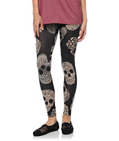 See You Monday Tossed Skulls Black Leggings
