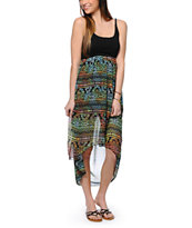 See You Monday Tribal Print Chiffon High Low Dress
