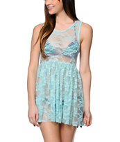 See You Monday Turquoise Lace Babydoll Dress