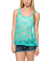 See You Monday Turquoise Lace Crop Tank Top