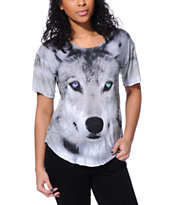 See You Monday Wolf Face Grey Sublimated Tee Shirt
