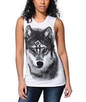 See You Monday Wolf White Lace Back Muscle Tee Shirt