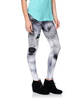 See You Monday Wolfy Grey Printed Leggings