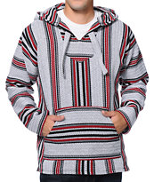 Senor Lopez Black, Red, & Grey Poncho