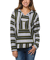 Senor Lopez Girls Black, White & Green Stripe Poncho