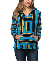 Senor Lopez Girls Blue, Black & Yellow Stripe Poncho