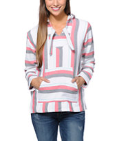 Senor Lopez Girls White, Graphite & Coral Poncho