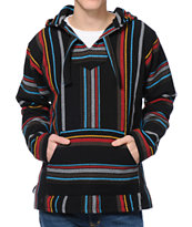 Senor Lopez Sarape Black, Red & Blue Stripe Poncho
