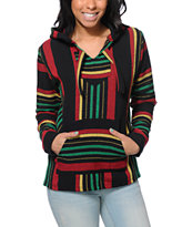 Senor Lopez Women's Black, Red, Green & Yellow Poncho