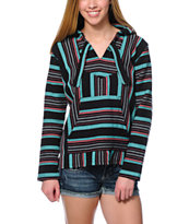 Senor Lopez Women's Black, Teal & Coral Poncho