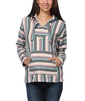 Senor Lopez Women's Natural Grey & Mint Stripe Poncho