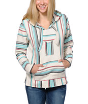 Senor Lopez Women's New Retro White, Coral & Mint Poncho