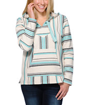 Senor Lopez Women's New Retro White, Graphite & Mint Poncho