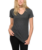 Sirens & Dolls Basic Heather Black V-Neck T-Shirt