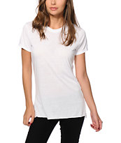 Sirens & Dolls Basic Slit White T-Shirt