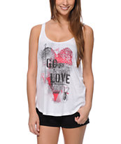 Sirens & Dolls Bee Love White Tank Top