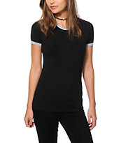 Sirens & Dolls Black Basic Ringer T-Shirt