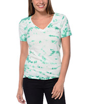 Sirens & Dolls Burst Green Tie Die V-Neck Tee Shirt