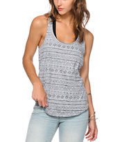Sirens & Dolls Charcoal Geo Tribal Reverse Print Tank Top