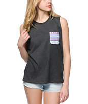 Sirens & Dolls Geo Tribal Pocket Grey Muscle Tee