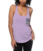 Sirens & Dolls Geo Tribal Pocket Purple Tank Top