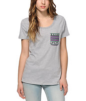 Sirens & Dolls Geo Tribal Scoop Neck Pocket T-Shirt