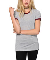 Sirens & Dolls Grey & Burgundy Basic Ringer T-Shirt