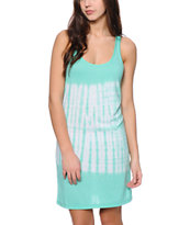 Sirens & Dolls Mint & White Tie Dye Tank Dress