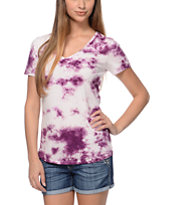 Sirens & Dolls Storm Wash Berry Purple V-Neck Tee Shirt